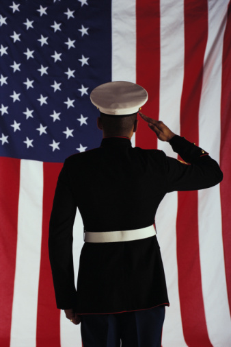 Marine saluting flag