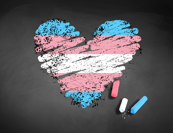 Heart in the colors of the transgender flag