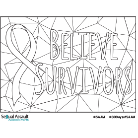 "Coloring page that says ""Believe survivors"""