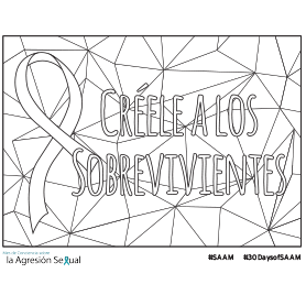 "Coloring page that says ""Creele a los sobrevivientes"""