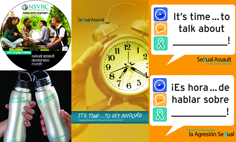 "Previous SAAM materials: a CD cover, water bottles that say ""Sexual Assault Awareness Month"" in English and Spanish, a poster that says ""It's time...to get involved,"" and stickers that say ""It's time...to talk about ____!"" and ""Es hora...de hablar sobre_____"""