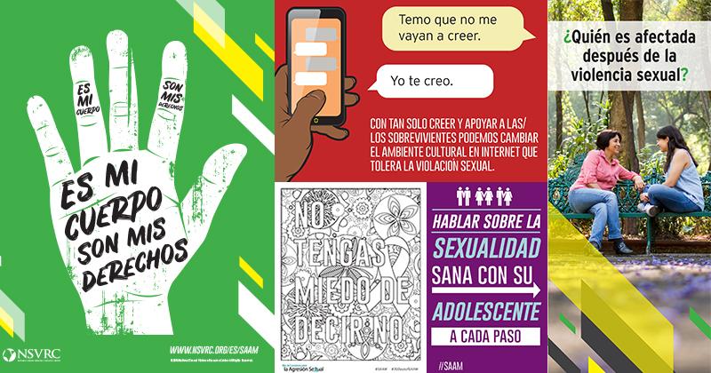 """Spanish SAAM content: """"Es mi cuerpo, son mis derechos,"""" """"Yo te creo,"""" """"Quien es afectada despues de la violencia sexual,"""" """"Hablar sobre la sexualidad sana con su adolescente a cada paso,"""" and """"No tengas miedo de decir no"""""""