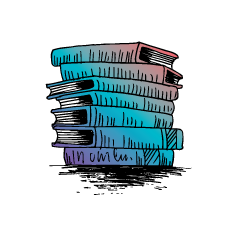 Drawn image of a stack of books