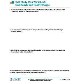 Self-study plan worksheet: Community and Policy Change