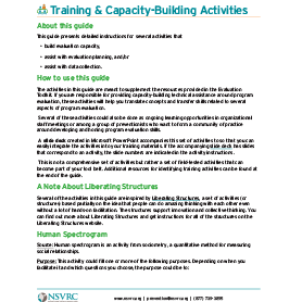 Training and capacity building activities