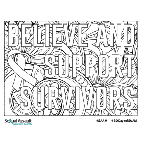 "Coloring page that says ""Believe and support survivors"""