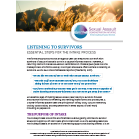 Listening to Survivors- Essential Steps for the Intake Process