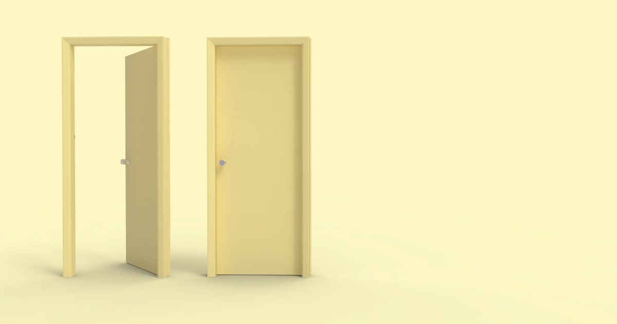 Two yellow doors against a yellow background. One door is open and one is closed.