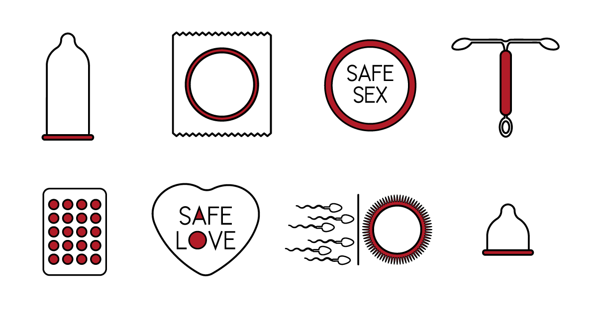 Icons of safe sex items