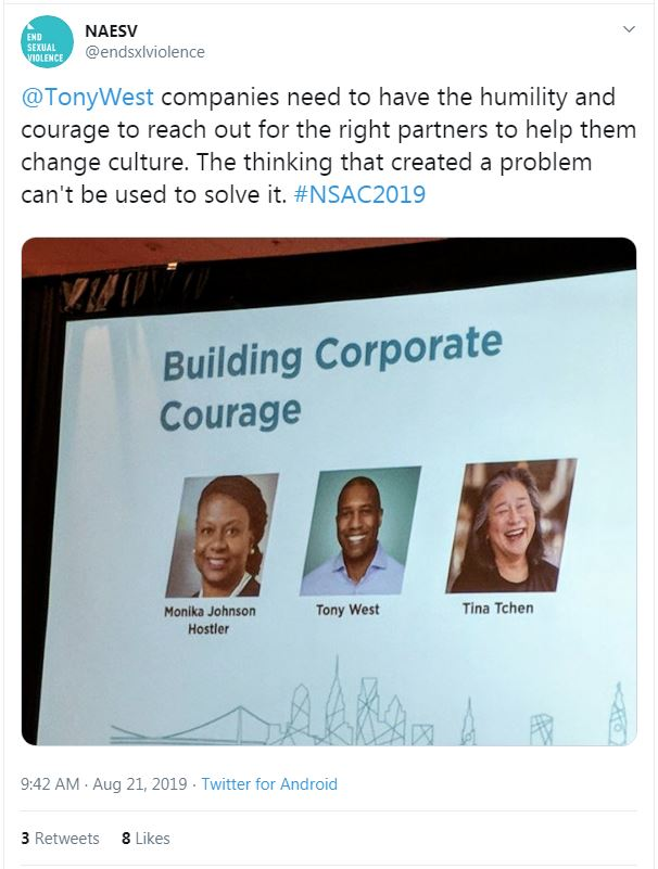 "Tweet from NAESV: ""@TonyWest companies need to have the humility and courage to reach out for the right partners to help them change culture. The thinking that created a problem can't be used to solve it. #NSAC2019"""