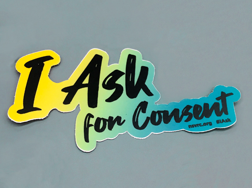 "Sticker saying ""I ask for consent."""