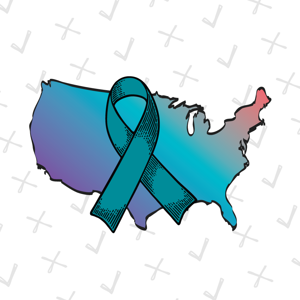 Map of the US with a Teal Ribbon