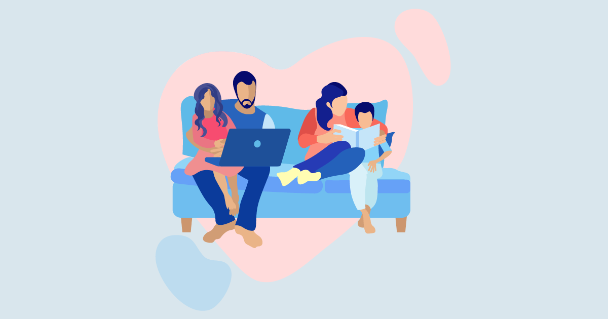 Illustration of a family of four sitting on the couch looking at a computer and reading together