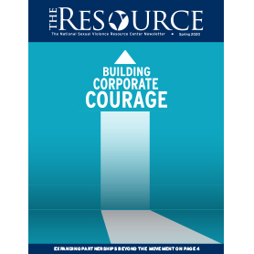 "Cover of The Resource has an arrow pointing upward and the words ""Building Corporate Courage"""