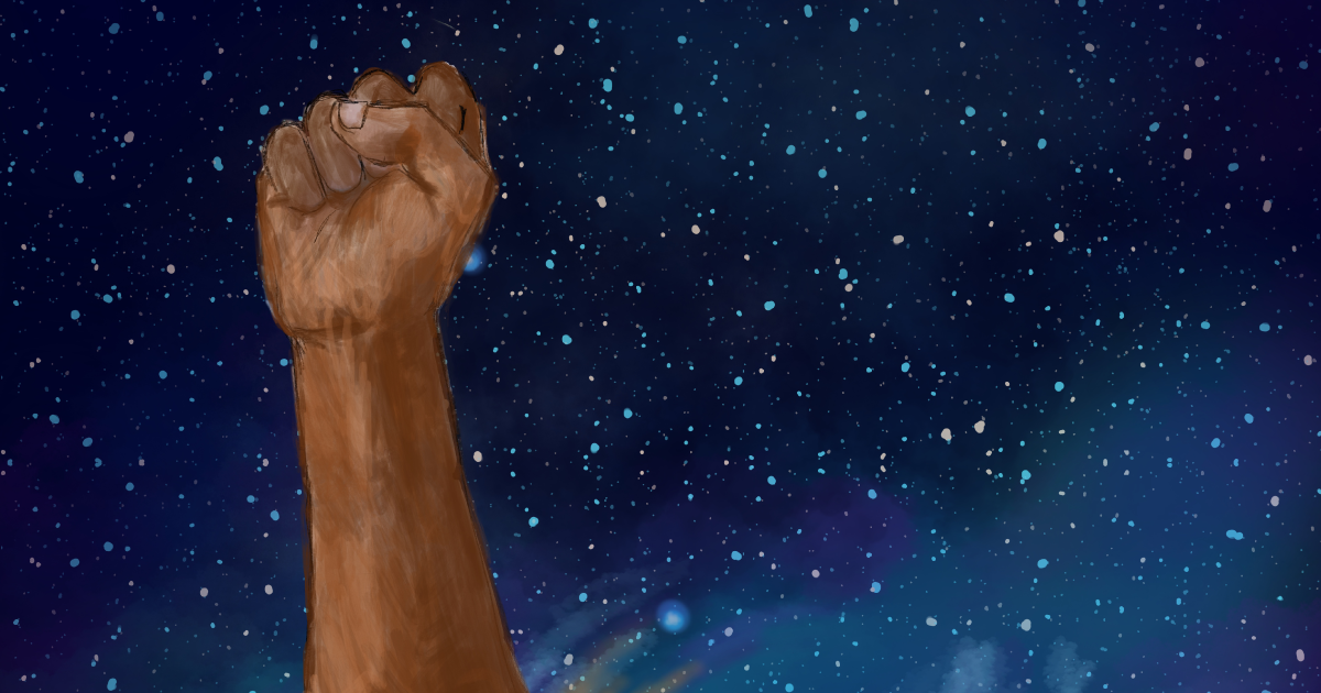 Illustration of a Black person's raised fist against a night sky