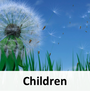 Children-dandelion field