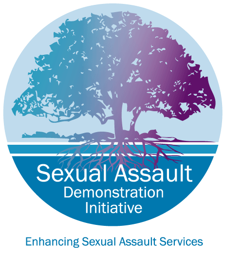 Sexual Assault Demonstration Initiative logo teal and purple tree with roots