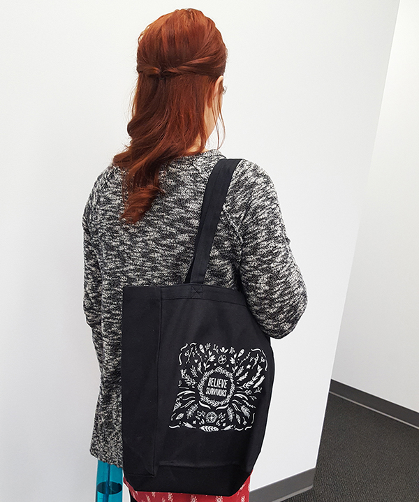 Tote bag over a women's shoulder