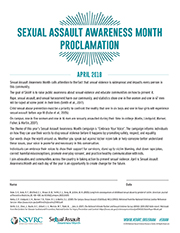 Sexual Assault Awareness Month Proclamation