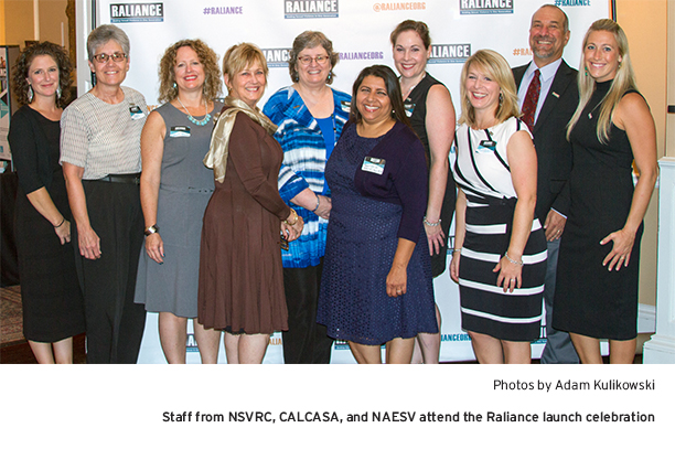 Staff from NSVRC, CALCASA, and NAESV attend the Raliance launch celebration