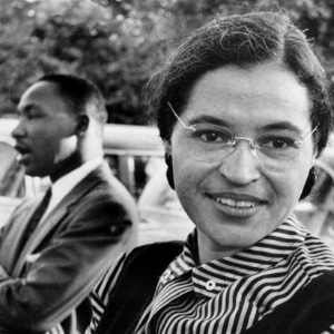 Rosa Parks with Martin Luther King in the Background
