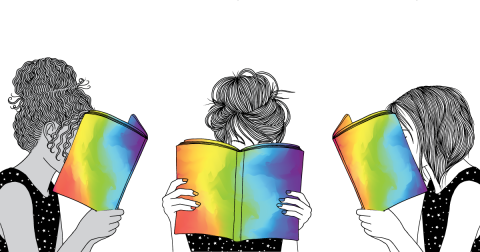 Image of girls reading rainbow books