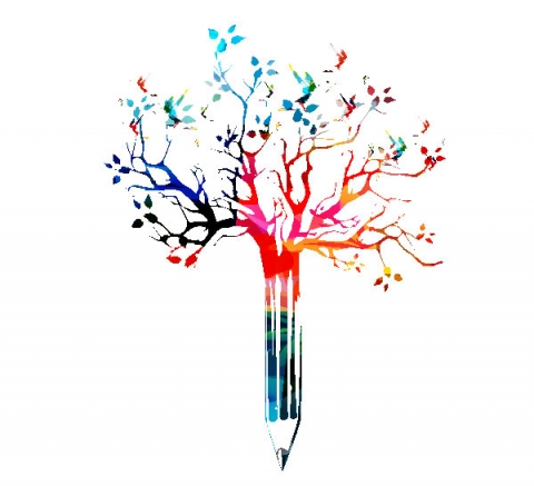 Colorful illustration of a pencil that is sprouting branches