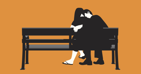 Drawn image of a couple sitting on a bench, hugging