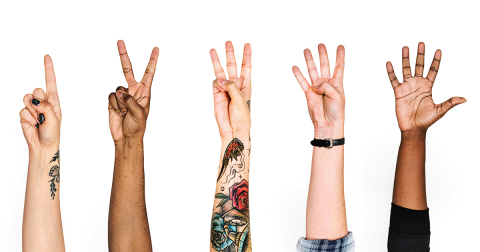 Five different hands, each holding up a different number of fingers