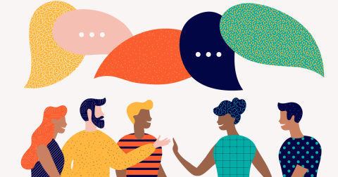 Illustration of people with brightly colored speech bubbles above their heads