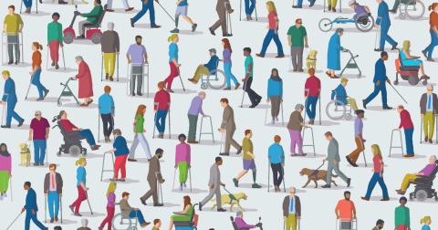 Illustration of various people with different disabilities