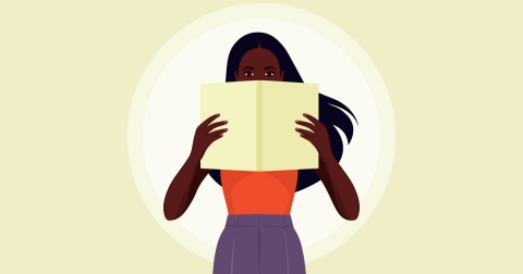 Illustration of a Black woman looking up over a book she's reading
