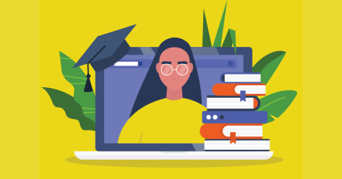 Illustration of a laptop surrounded by books. A young woman wearing glasses appears on the inside of the laptop