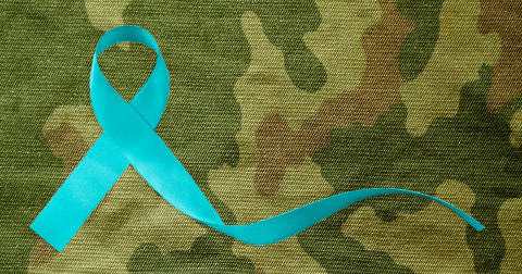 Teal ribbon on camo background