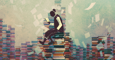 Illustration of a man sitting on a stack of books reading a book