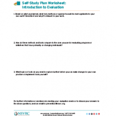 Self-study plan worksheet: introduction to evaluation