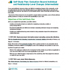 Self-Study Plan: Evaluation Beyond Individual and Relationship-Level Changes (Intermediate)