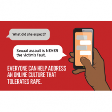 "Postcard that says ""Everyone can help address an online culture that tolerates rape."""