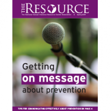 "Image of a microphone with the words ""Getting on message about prevention"""